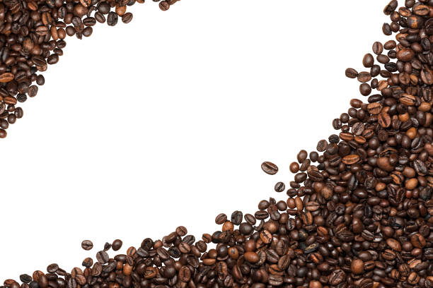coffee beans isolated on white background - coffee beans stock photos and pictures
