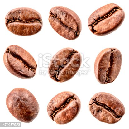 istock Coffee beans isolated on white. Collection 474087923