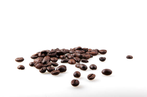 Coffee Beans Isolated On White Coffee Beans Isolated On White Background roasted coffee bean stock pictures, royalty-free photos & images