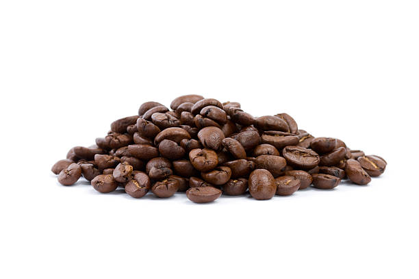 coffee beans isolated on white fresh roasted coffee beans on white background roasted coffee bean stock pictures, royalty-free photos & images