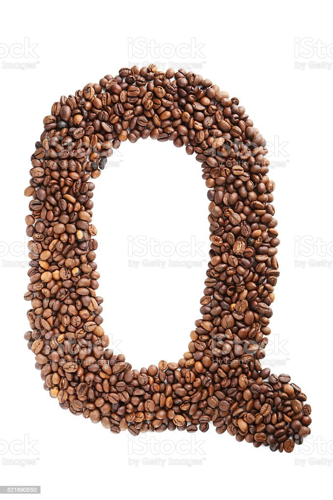 Coffee beans letter isolated on a white stock photo
