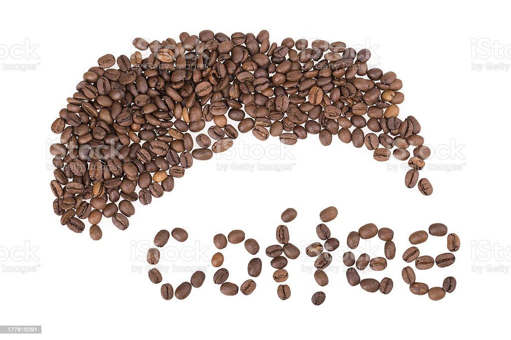 coffee beans, letters royalty-free stock photo