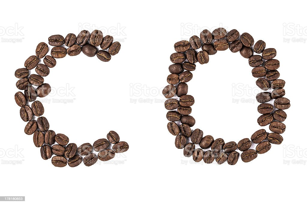 coffee beans letters royalty-free stock photo