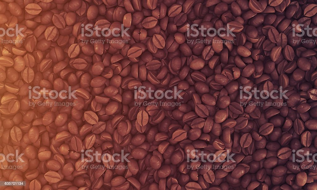 coffee beans lying on some flat surface, toned royalty-free stock photo