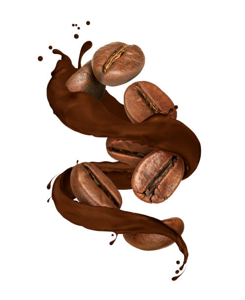 coffee beans moves in chocolate splashes on white background - chocolate swirl stock photos and pictures