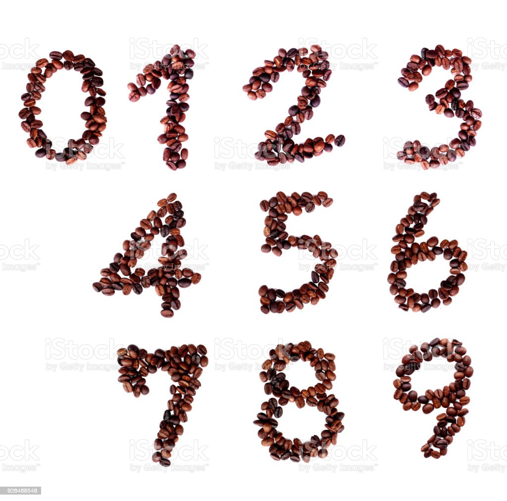 coffee beans number 0-9 alphabet on isoleted white background stock photo