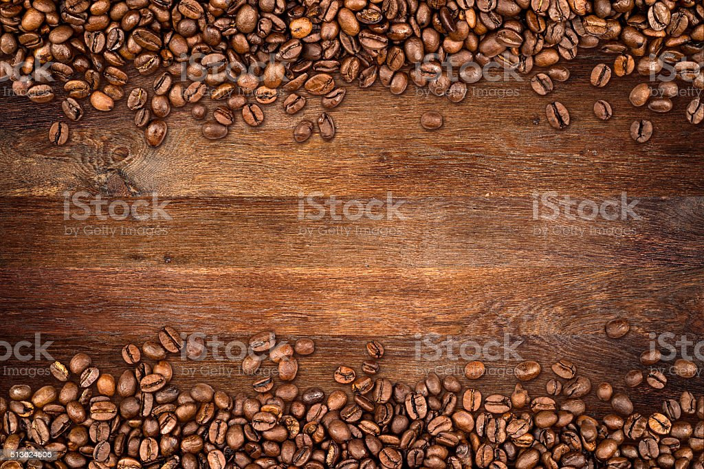 coffee beans old oak background stock photo