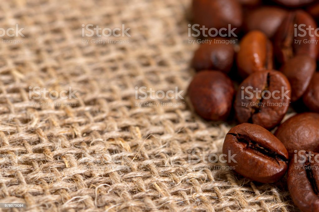 Coffee beans on a burlap (50 megapixels) stock photo