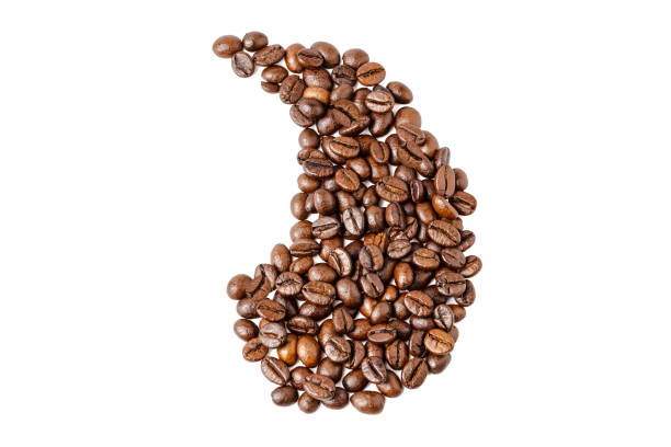 coffee beans on an isolated white background in the form of an apostrophe. Coffee beans. Isolated on a white background. Coffee beans. Isolated on a white background. Roasted coffee beans heap isolated on a white background. View from above apostrophe stock pictures, royalty-free photos & images