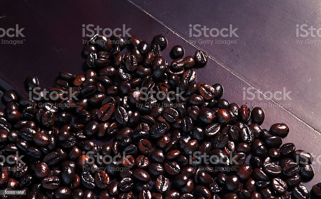 Coffee Beans on BlackWood royalty-free stock photo