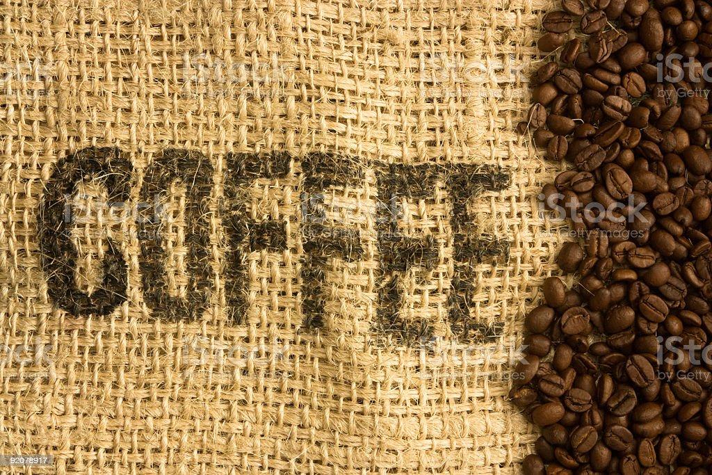 Coffee Beans on burlap bag royalty-free stock photo