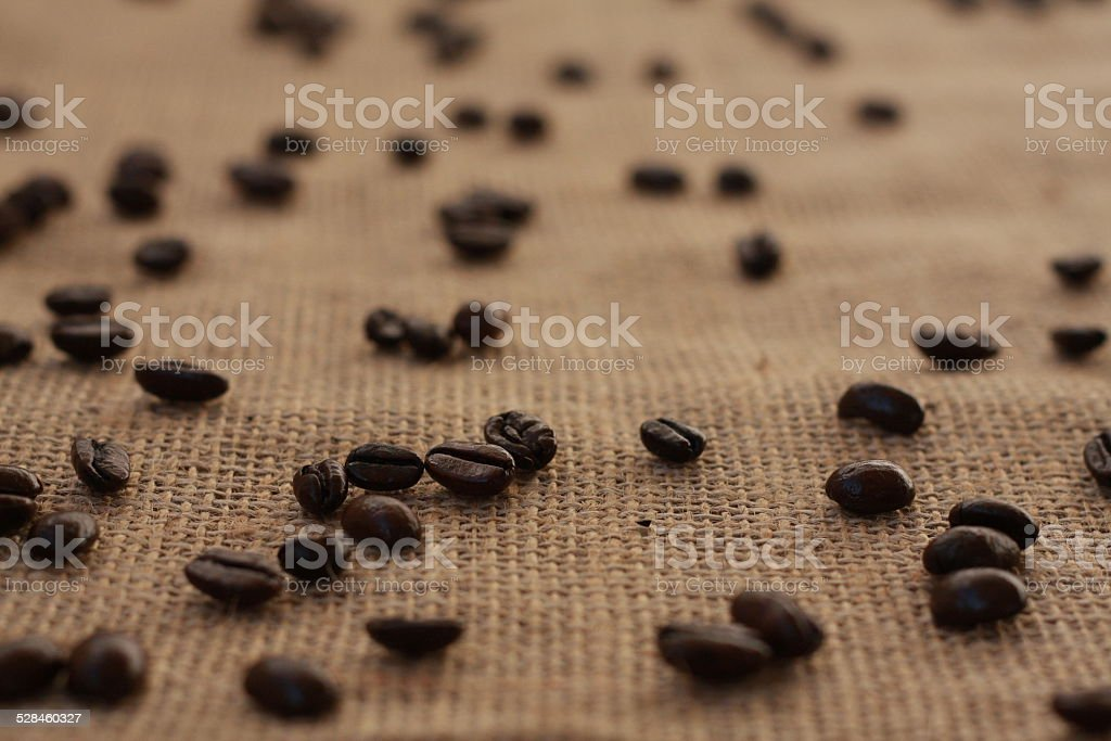 Coffee Beans on Burlap Landscape stock photo