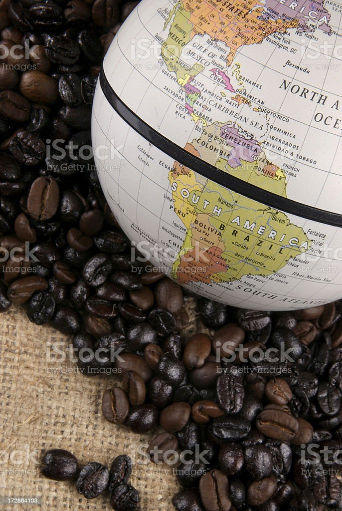 Coffee beans on canvas royalty-free stock photo
