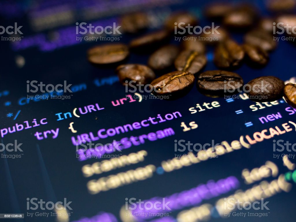 Coffee beans on java code - foto stock