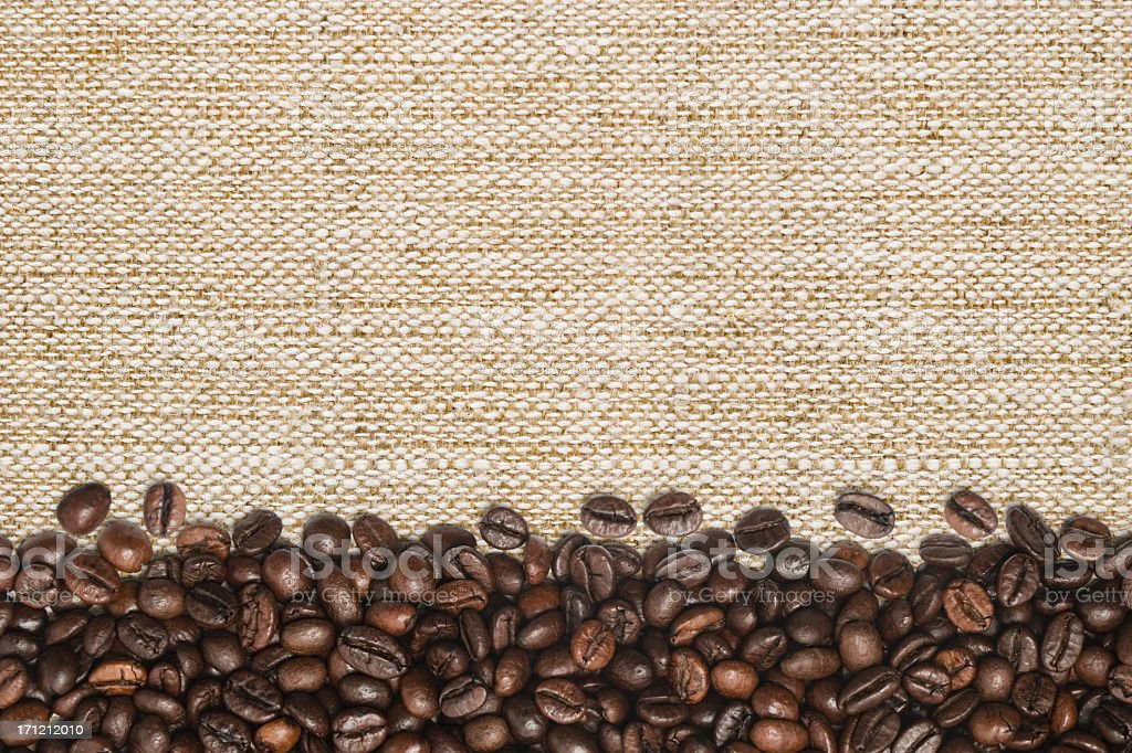 Coffee beans on sack royalty-free stock photo