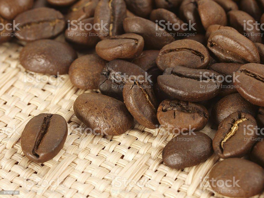 Coffee beans on textile royalty-free stock photo
