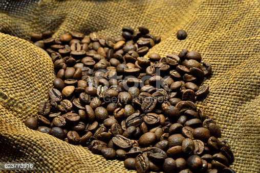 istock Coffee beans on the old sacking 623773916