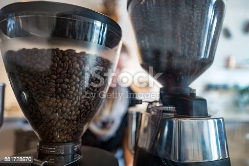 Coffee beans in the hopper waiting to be ground