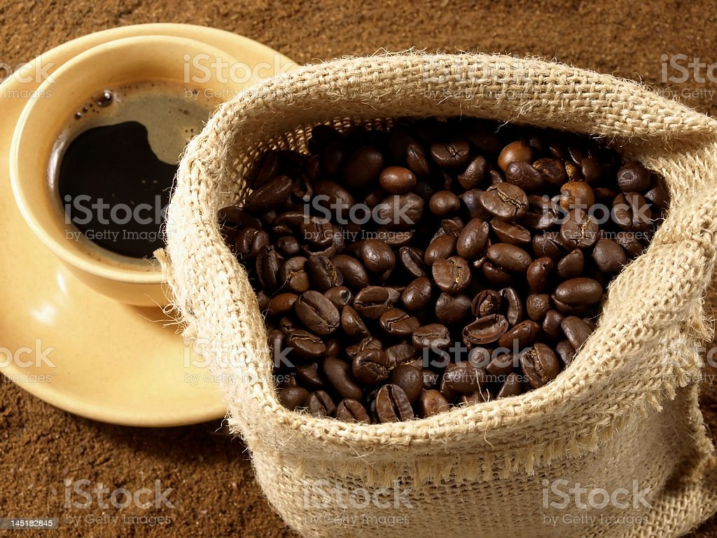 Coffee beans, powder and drink royalty-free stock photo
