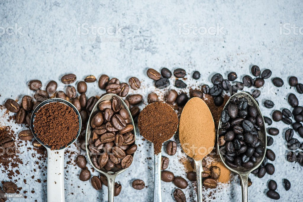 coffee beans roasted,instant and grinded coffee royalty-free stock photo