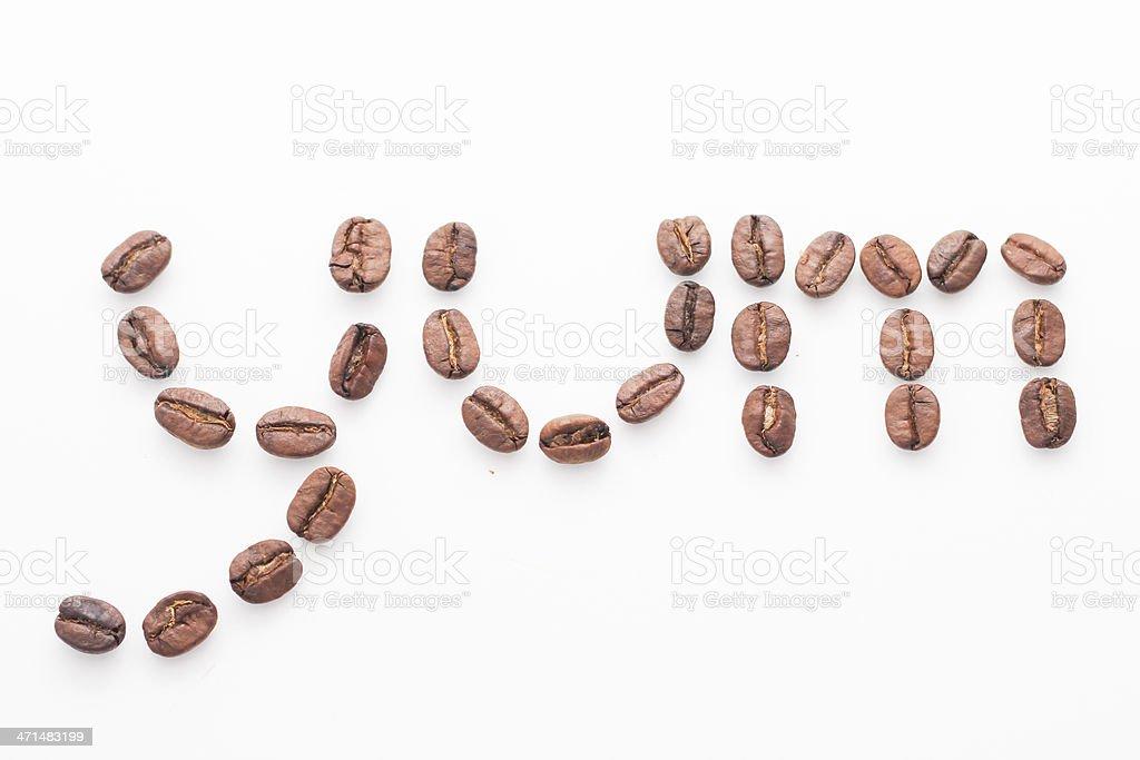 Coffee Beans Spelling 'Yum' stock photo