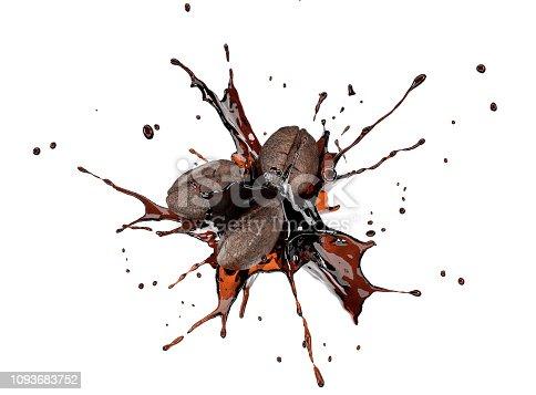 istock Coffee beans splashing in liquid coffee in the air. 1093683752