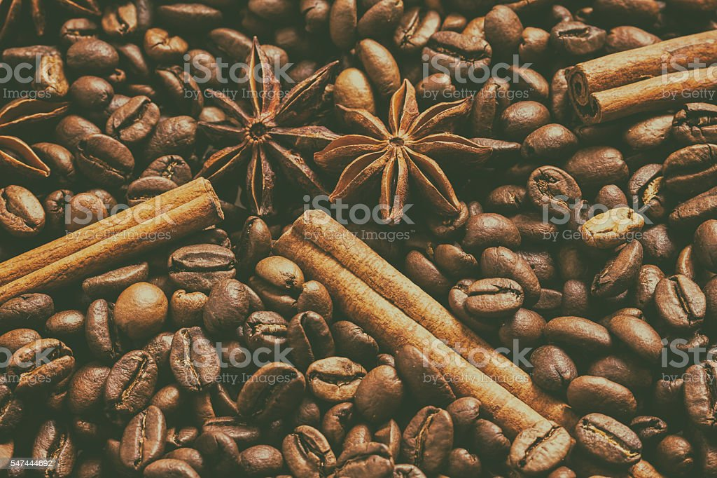 Coffee Beans. The effect of film grain. stock photo