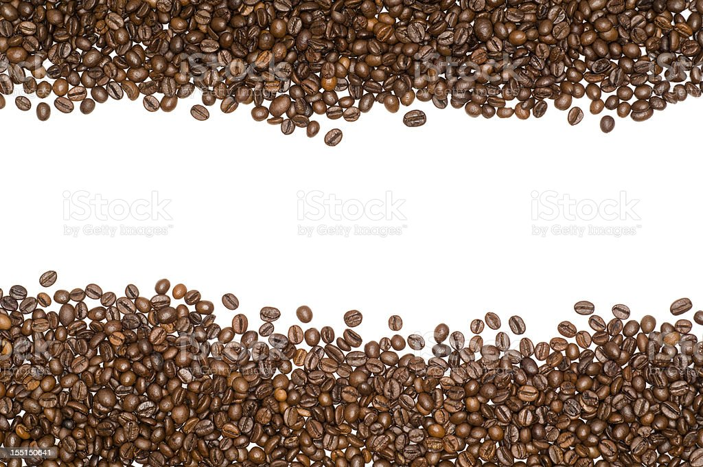 Coffee beans white frame royalty-free stock photo