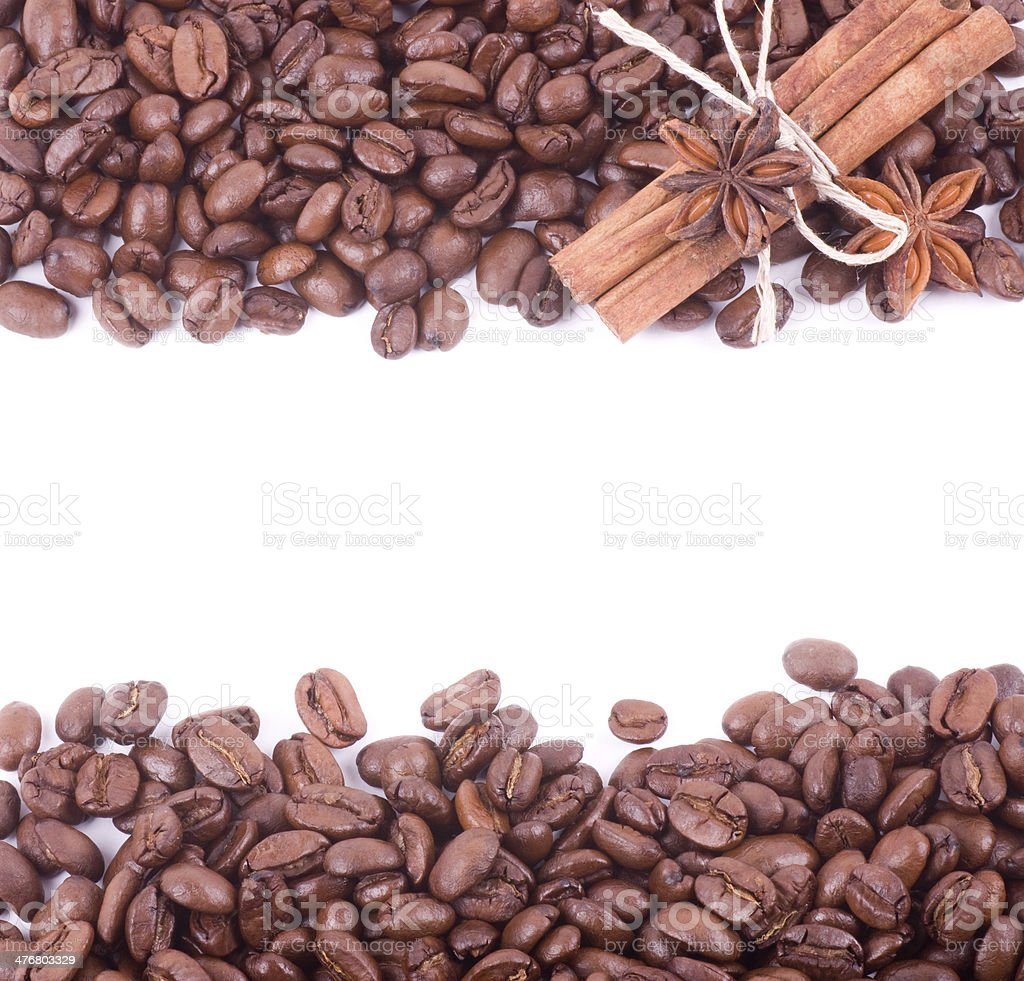 Coffee beans with paper banner royalty-free stock photo