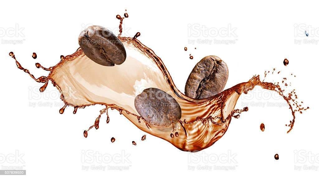 Coffee beans with splash isolated on white stock photo