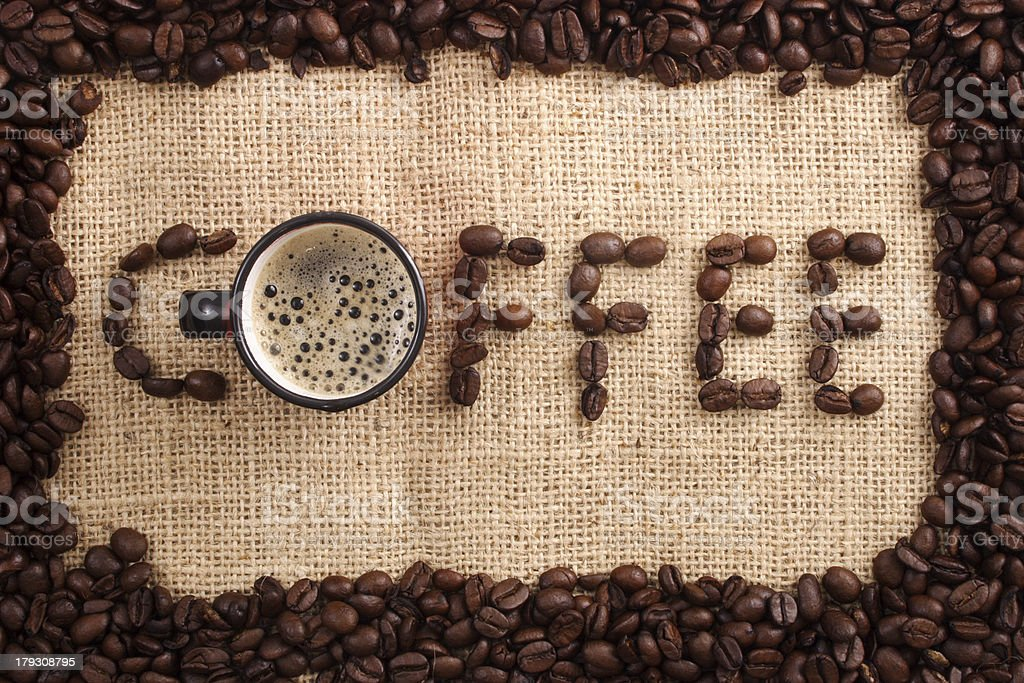 Coffee beans word royalty-free stock photo