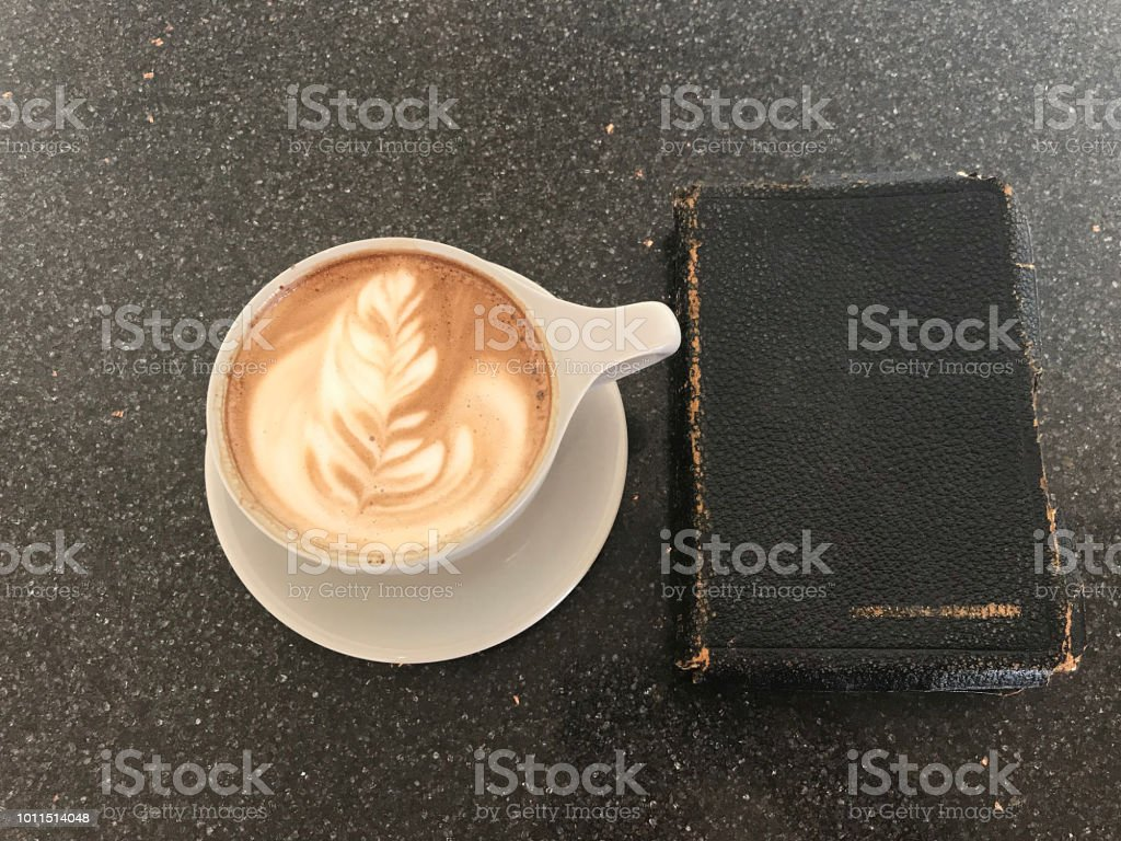 Coffee Bible Study stock photo