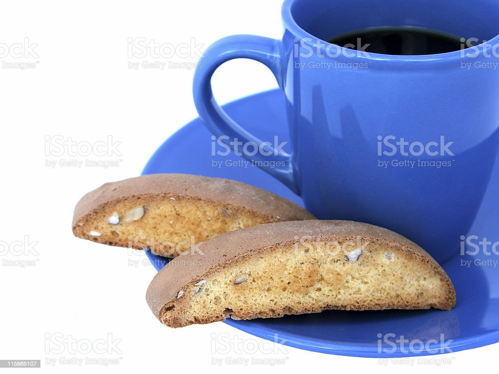 Coffee & Biscotti Closeup (isolated) royalty-free stock photo