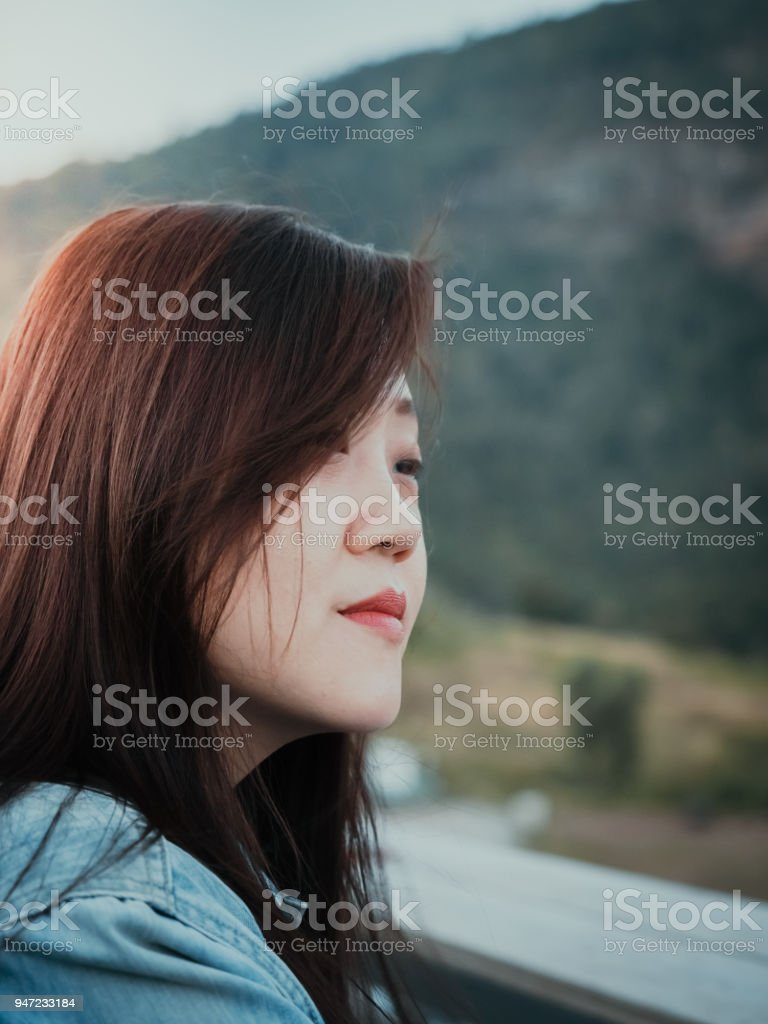 coffee break and relax concept from portrait asian beauty long hair...