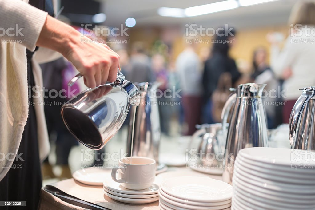Coffee break at business meeting stock photo