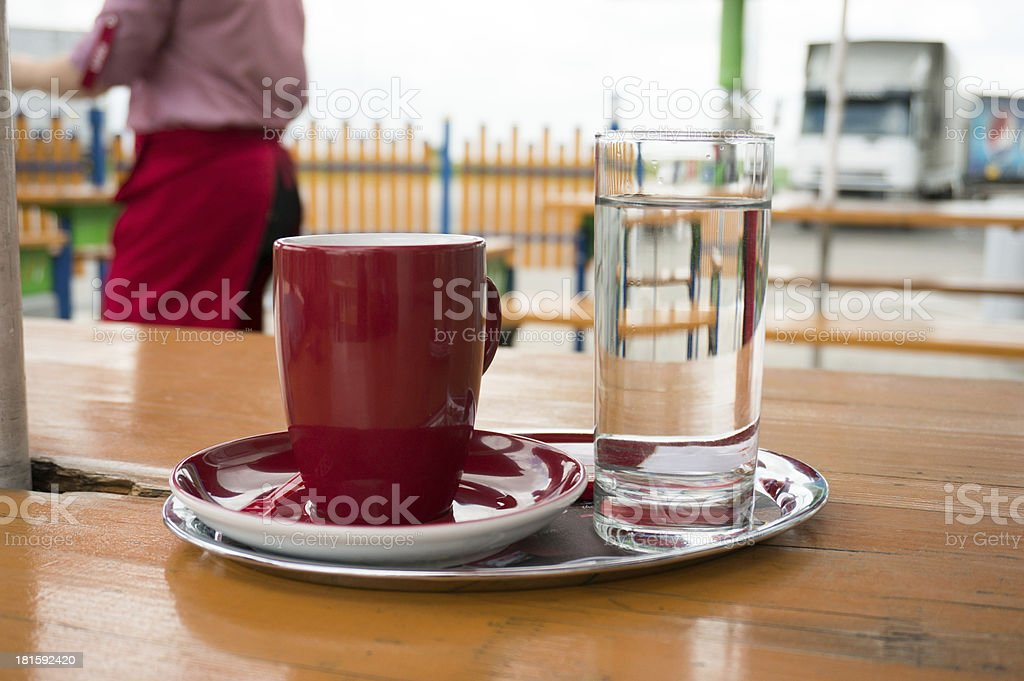 coffee break at gas station royalty-free stock photo
