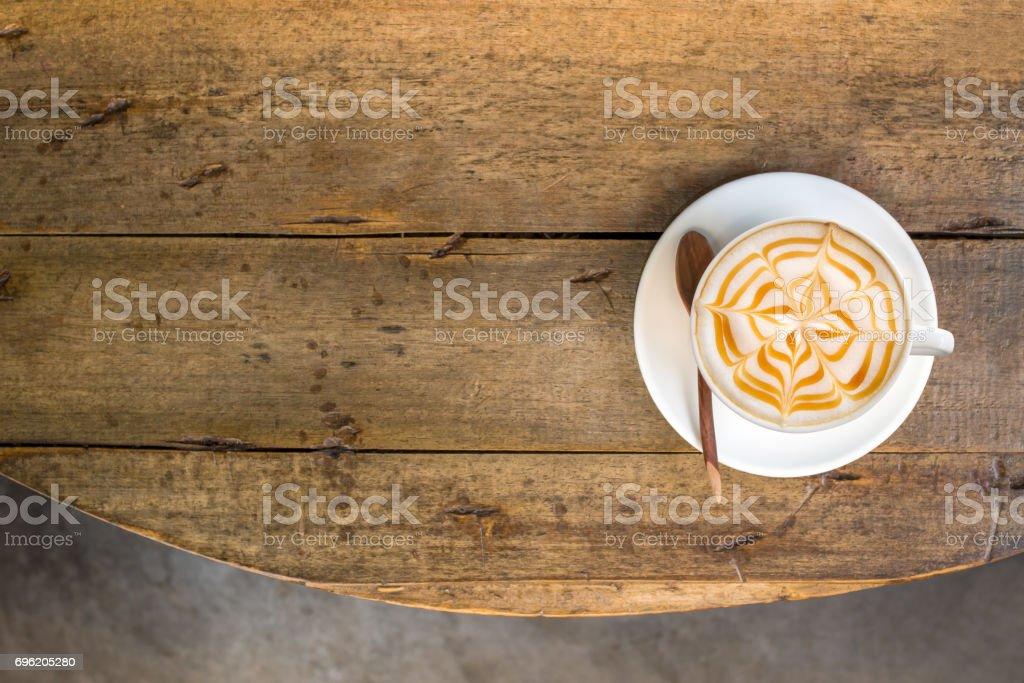 Coffee break at retro style coffee shop,top view. stock photo