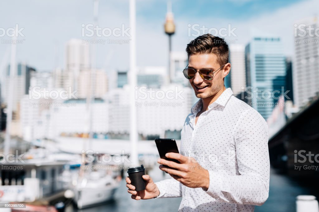 Coffee break at yacht club for successful businessman stock photo