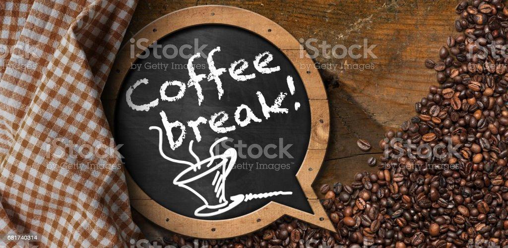 Coffee Break - Blackboard with Coffee Beans royalty-free stock photo