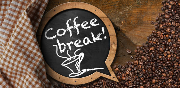 Coffee Break - Blackboard with Coffee Beans stock photo