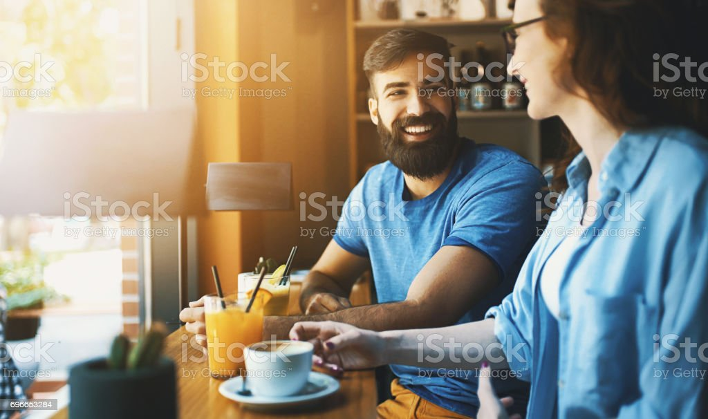 Coffee break conversation. stock photo