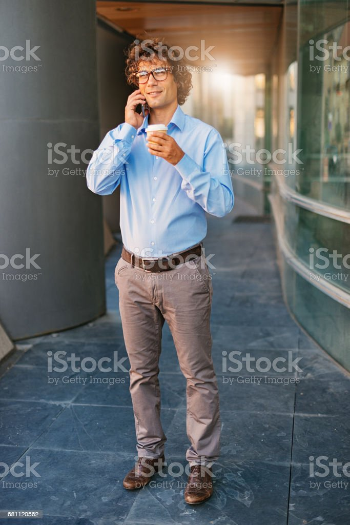 Coffee break for experienced investment banker. royalty-free stock photo