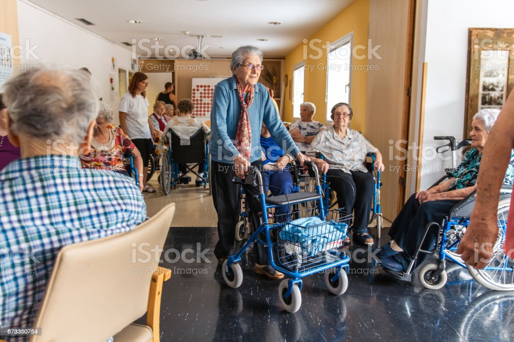 Coffee Break For Seniors In The Retirement Home stock photo