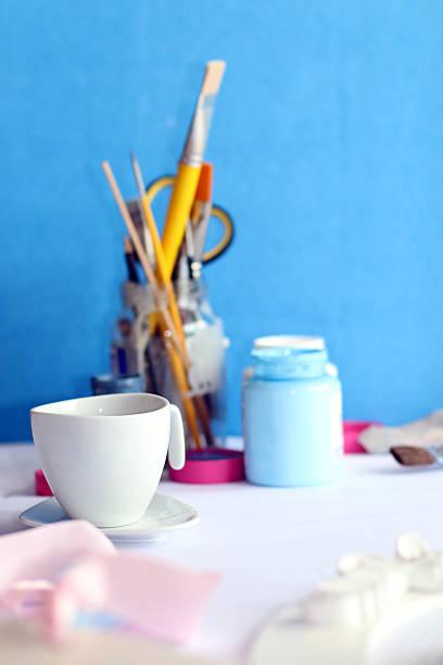 Kaffeepause in kreativen mess – Foto