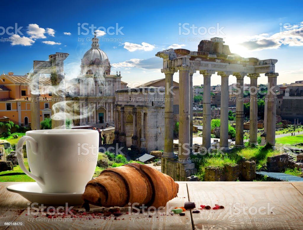 Coffee break in Roman Forum stock photo