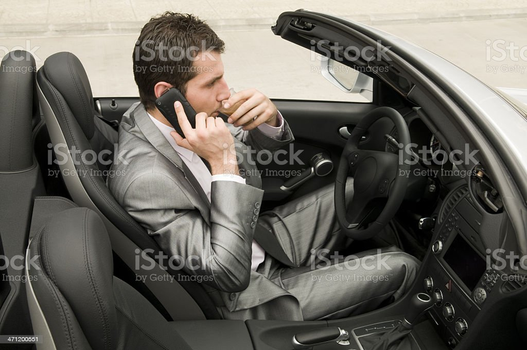 Coffee break in the convertible royalty-free stock photo