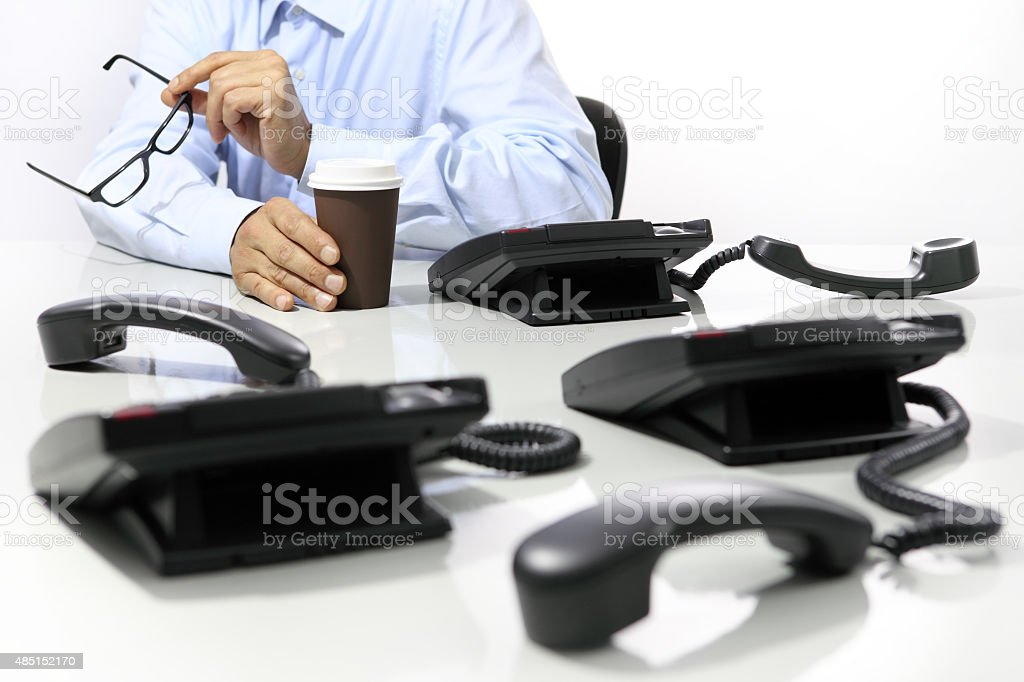 coffee break in the office, phones off stock photo