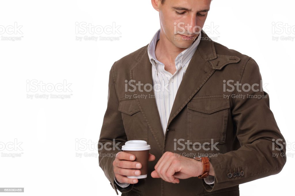 Coffee break. Male holding coffee to take away. foto de stock royalty-free