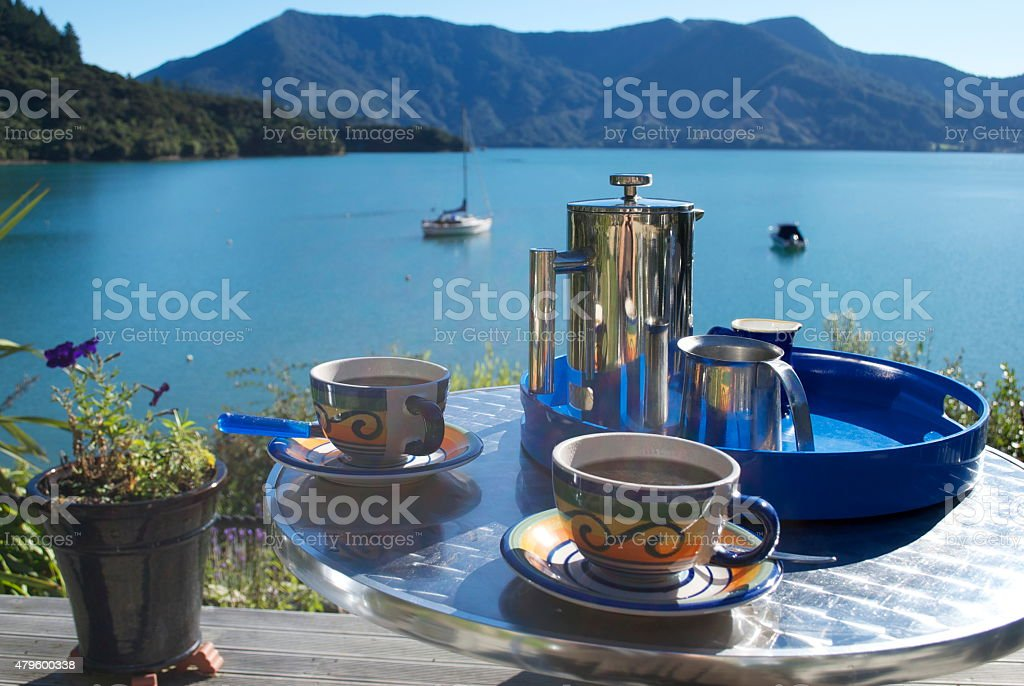 Coffee Break, Marlborough Sounds, New Zealand stock photo