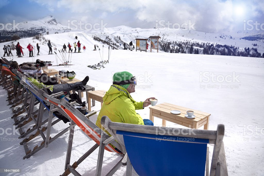 Coffee break on a skiing holiday stock photo
